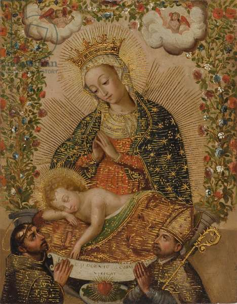 The Virgin Adoring the Christ Child with Two Saints, 18th century (oil with gold on copper)