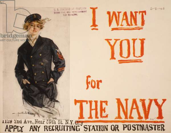 I want you for the Navy, 1917 (colour lithograph)