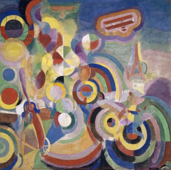 Homage to Blériot, 1914 (tempera on canvas)