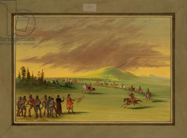 La Salle Meets a War Party of Cenis Indians on a Texas Prairie, April 25th 1686, 1847-48 (oil on canvas)