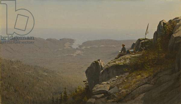The Artist Sketching at Mount Desert, Maine, 1864-5 (oil on canvas)