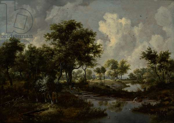 A Wooded Landscape, 1667 (oil on panel)