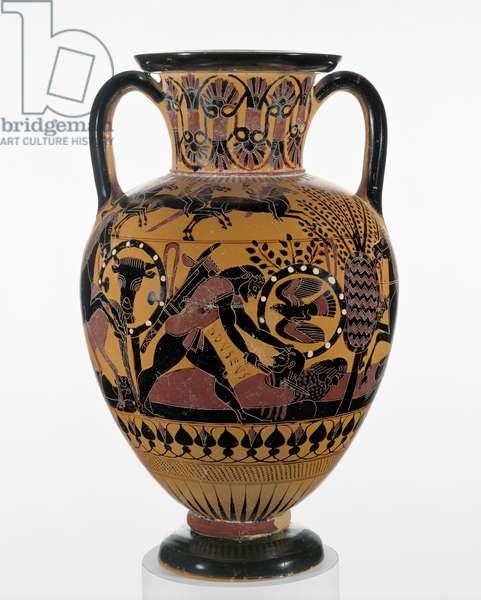 Chalcidian black-figure neck amphora with Odysseus killing a Thracian, c.540 BC (terracotta)