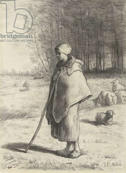 Shepherdess, 1860-69 (chalk on paper)