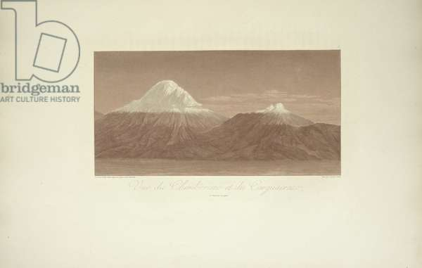 View of Chimborazo and Carguairazo, drawn by Gmelin, engraved by Arnold, illustration from 'Vues des Cordillères et Monumens des Peuples Indigènes de l'Amérique' by Alexander von Humboldt and Aime Bonpland, 1813 (engraving)