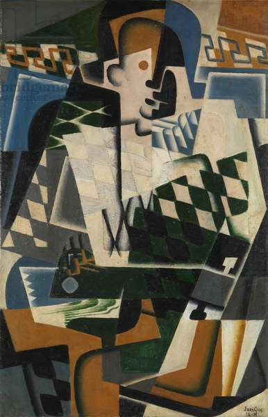 Harlequin with a Guitar, 1917 (oil on panel)