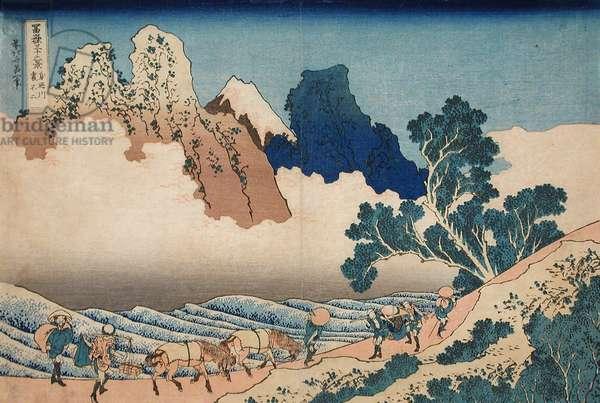 The back of the Fuji from the Minobu river, c.1830 (woodblock print)