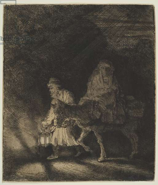 The Flight into Egypt: a Night Piece, 1651 (etching)