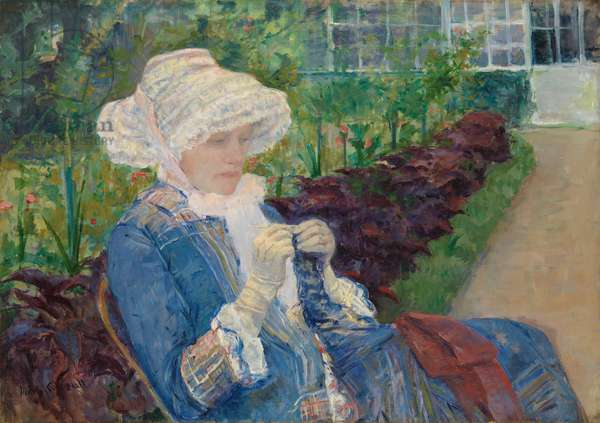 Lydia Crocheting in the Garden at Marly, 1880 (oil on canvas)