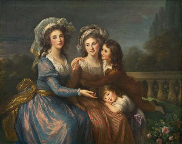 The Marquise de Pezay, and the Marquise de Rougé with Her Sons Alexis and Adrien, 1787 (oil on canvas)