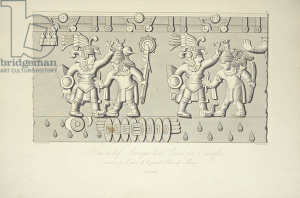 Aztec Stone Relief of Sacrifices, illustration from 'Vues des Cordillères et Monumens des Peuples Indigènes de l'Amérique' by Alexander von Humboldt and Aime Bonpland, 1813 (engraving)