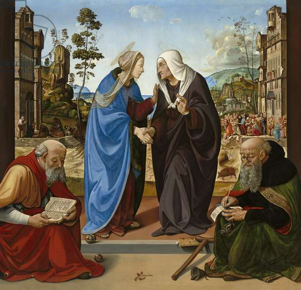 Visitation with St. Nicholas and St. Anthony Abbot, c.1490 (oil on panel)