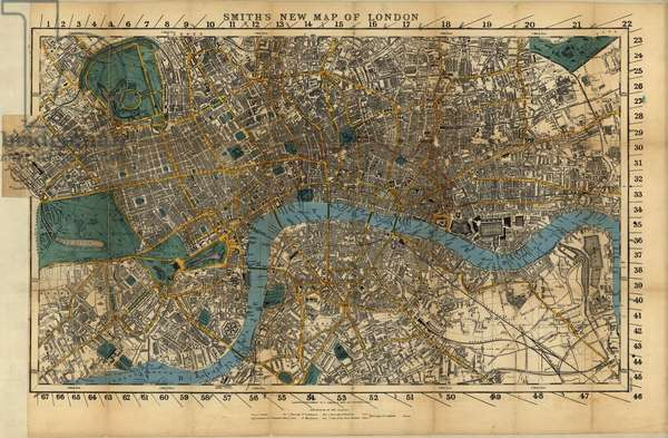 Smith's new map of London, 1860 (hand-coloured engraving)
