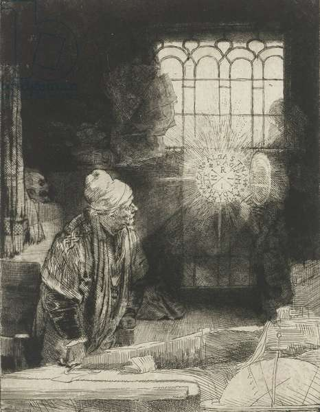 A Scholar in His Study ('Faust'), 1650-54 (etching)