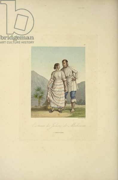 Costumes of the Indians of Mechoacan, illustration from 'Vues des Cordillères et Monumens des Peuples Indigènes de l'Amérique' by Alexander von Humboldt and Aime Bonpland, 1813 (hand-coloured engraving)