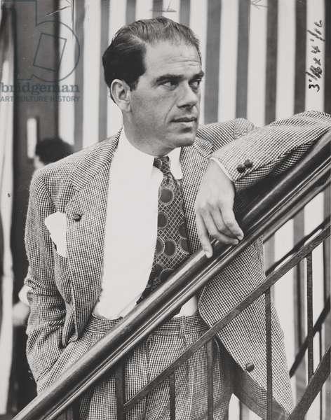 Frank Capra sailing from Italy to New York, 1937 (b/w photo)