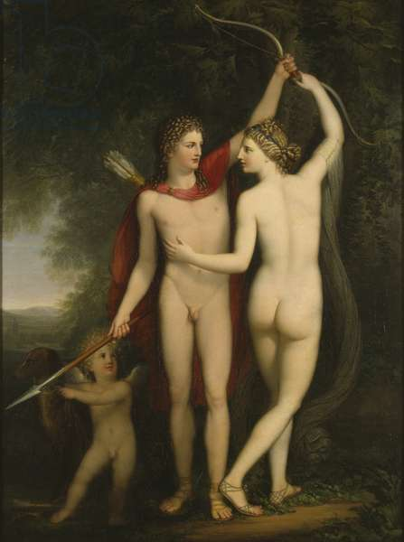 Venus, Adonis and Cupid (oil on canvas)