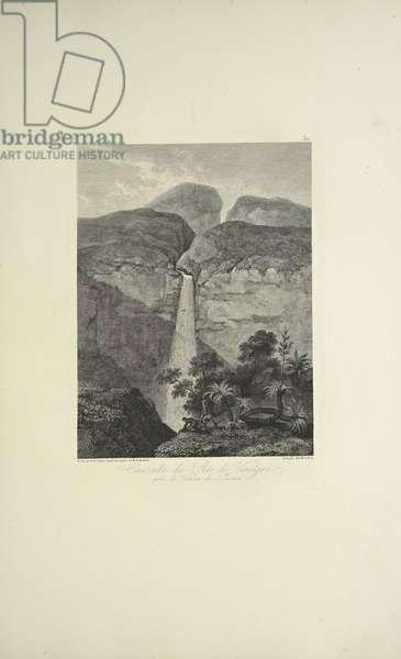Falls of the Rio de Vinagre, near the Volcano of Purace, drawn by Koch, engraved by Arnold, illustration from 'Vues des Cordillères et Monumens des Peuples Indigènes de l'Amérique' by Alexander von Humboldt and Aime Bonpland, 1813 (engraving)