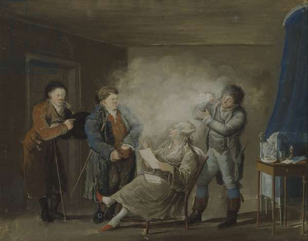 While the Wig is Being Powdered, c.1800 (gouache on paper)