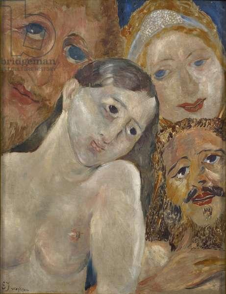 Ecstatic heads (oil on wood)