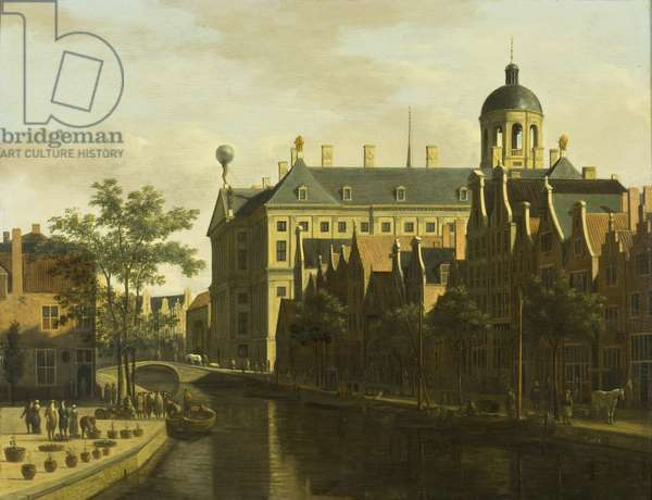 The Nieuwezijds Voorburgwal with the Flower and Tree Market in Amsterdam, c.1675 (oil on wood)