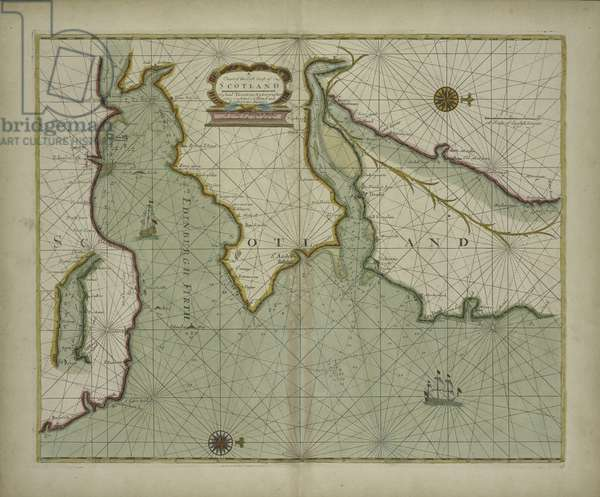 A chart of the East coast of Scotland from a sea-atlas containing an hydrographical description of most of the sea-coasts of the known parts of the world by Samuel Thornton, 1707 (hand coloured print)