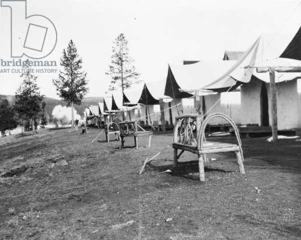 Tourist accommodations in upper Geyser Basin, Yellowstone Park, 1903 (b/w photo)