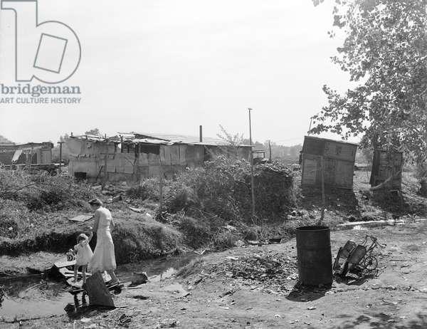 Squatter camp in California, 1936 (b/w photo)