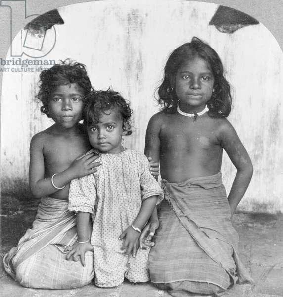 Portrait of three young Sinhalese girls, c.1905 (b/w photo)