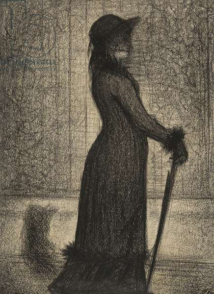 Une Elegante, Woman strolling, c.1884 (conte crayon on michalett paper)