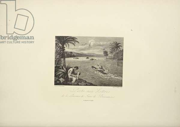 Posting Letters in the Province of Jaen de Bracamoros, illustration from 'Vues des Cordillères et Monumens des Peuples Indigènes de l'Amérique' by Alexander von Humboldt and Aime Bonpland, 1813 (engraving)