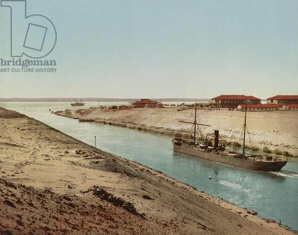 Suez Canal, entrance to Lake Timsah, c.1900 (colour photochrom)
