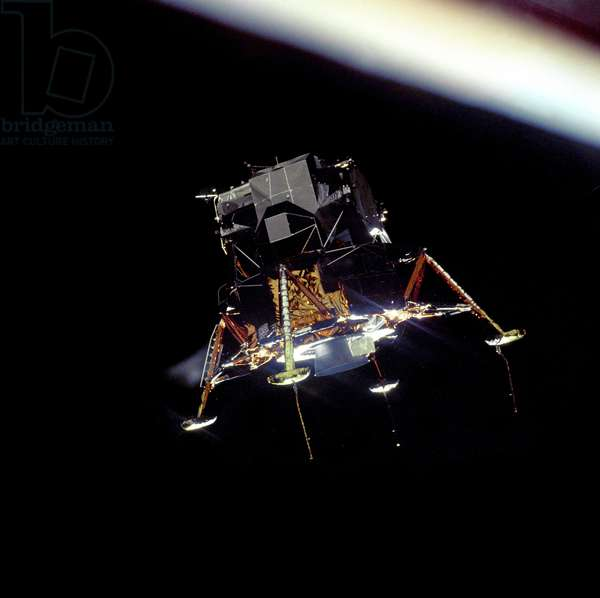 The Apollo 11 Lunar Module Eagle prepares to land, 1969 (photo)