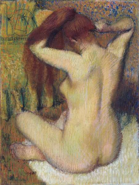 Woman Combing Her Hair, c.1888-90 (pastel on light green wove paper attached to mount)