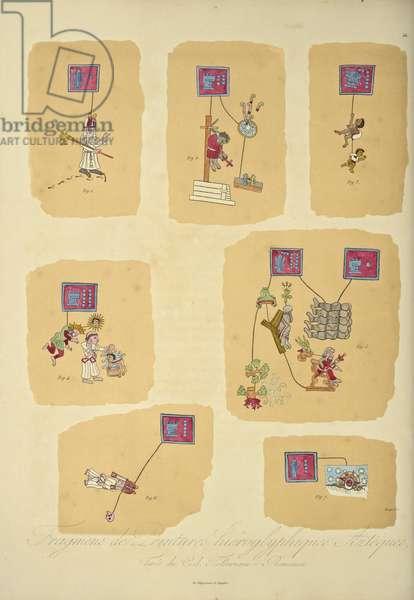Fragments of Aztec hieroglyphic paintings, from the Codex Telleriano-Remensis, illustration from 'Vues des Cordillères et Monumens des Peuples Indigènes de l'Amérique' by Alexander von Humboldt and Aime Bonpland, 1813 (colour aquatint)