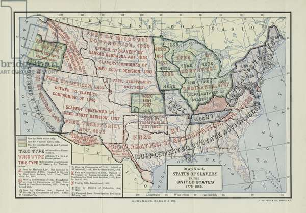 Status of Slavery in the United States, 1775-1865, from 'Division and Reunion, 1829-1889' by Woodrow Wilson, 1893 (colour litho)