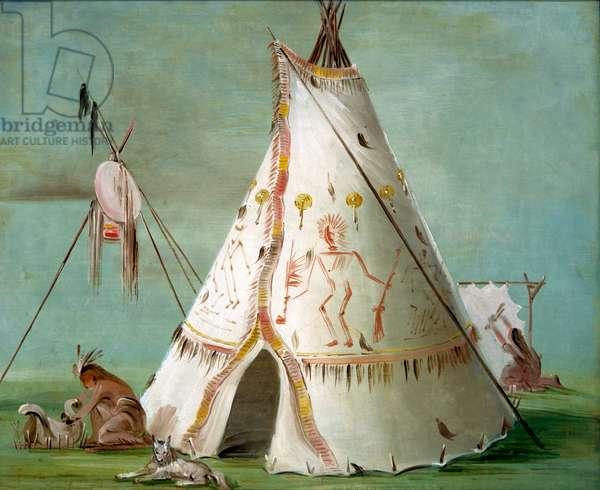 Crow Lodge of Twenty-five Buffalo Skins, 1832-33 (oil on canvas)