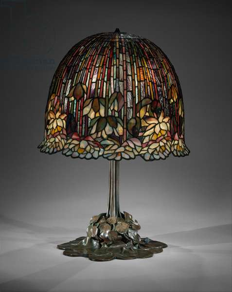 Lamp, 1904-15 (leaded favrile glass and bronze)