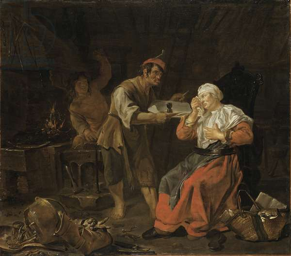 Weeping Woman in a Blacksmith's Shop, c.1650 (oil on canvas)
