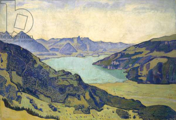 View of the Lake of Thun from Breitlauenen, 1906 (oil on canvas)