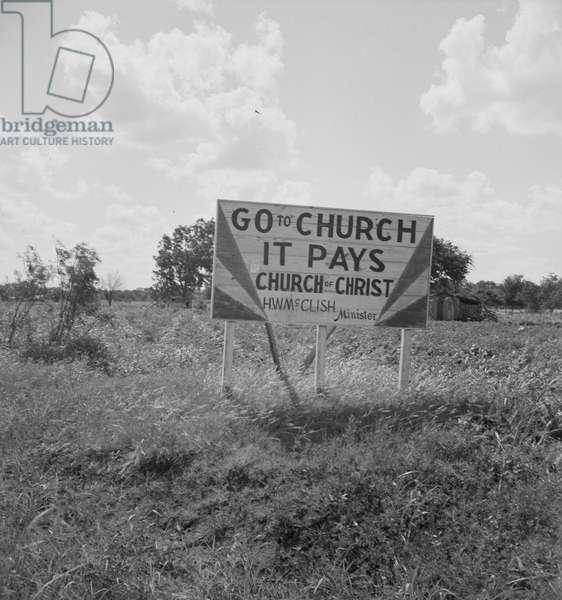 Georgia road sign, 1937 (b/w photo)