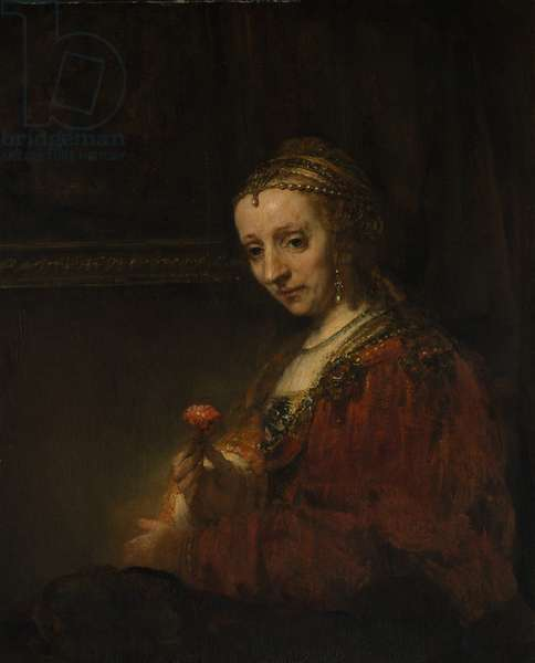 Woman with a Pink, c.1660 (oil on canvas)