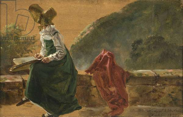 Princess Caroline Amalie Sketching in Naples. Study, 1820 (oil on paper mounted on board)
