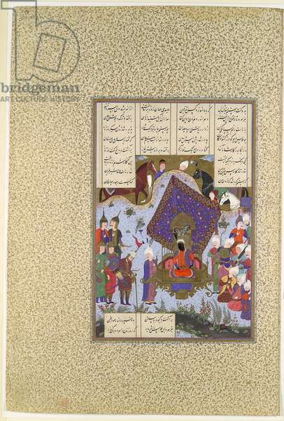 """""""Rustam Pained Before Kai Kavus"""", Folio 146r from the Shahnama (Book of Kings) of Shah Tahmasp, by Abu'l Qasim Firdausi, c.1525–30 (opaque w/c, ink, silver & gold on paper)"""
