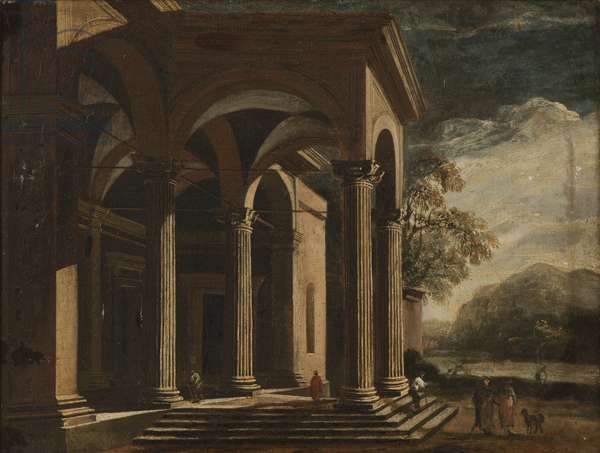Architectural Fantasy palace in a landscape (oil on canvas)