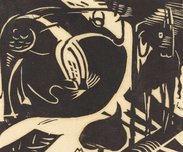 Two Mythical Animals (Zwei Fabeltiere), 1914 (woodcut in black on japan paper)