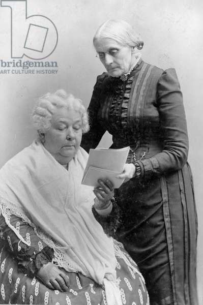 Elizabeth Cady Stanton with her friend Susan B. Anthony, c.1900 (b/w photo)