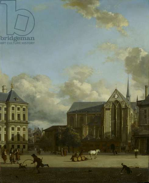 Dam Square with Nieuwe Kerk (New Church) and Koninklijk Paleis (Royal Palace), 1668 (oil on board)