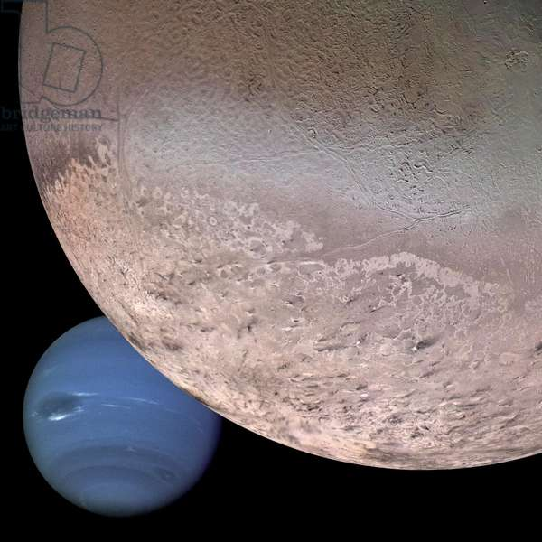 Montage of Neptune and it's moon Triton (digital image)