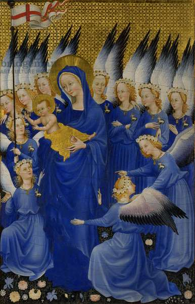 Mary with Child and Angels, right panel of Wilton Diptych, c.1395-9 (egg tempera on wood)